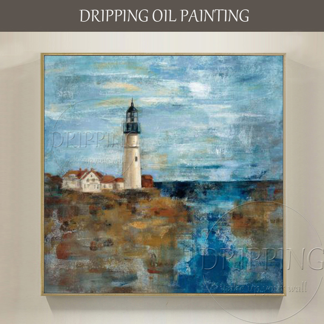 Attraktiv Artist Hand Painted High Quality Impressionist Landscape Lighthouse Oil  Painting For Living Room Decor Abstract