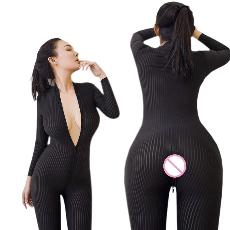 <font><b>Sexy</b></font> <font><b>Lingerie</b></font> Open Crotch Striped Sheer Teddy Babydoll <font><b>Sexy</b></font> Costumes Pole Dance Nightclub Long Sleeves <font><b>Lingerie</b></font> Sex Underwear image