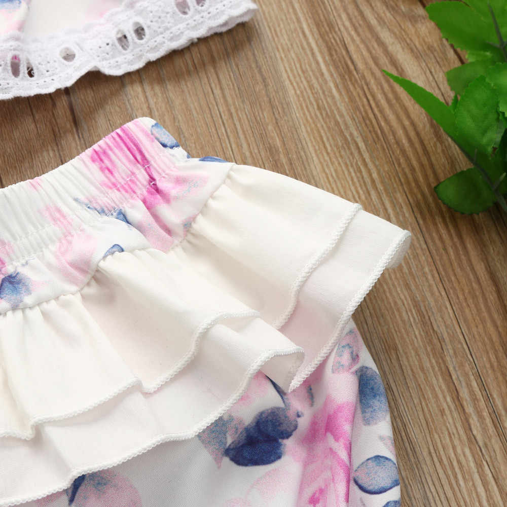 Комплекты одежды для маленьких девочек топ с короткими рукавами с цветочным кружевом и оборками + шорты, комплекты одежды, комплекты одежды для малышей meisje kledin