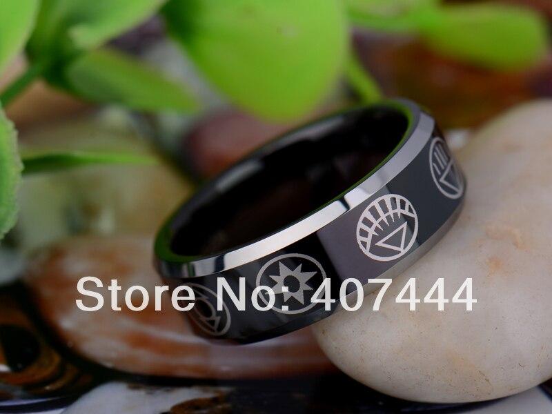 free shipping usa uk canada russia brazil hot sales 8mm black green lantern darkest night mens - Green Lantern Wedding Ring
