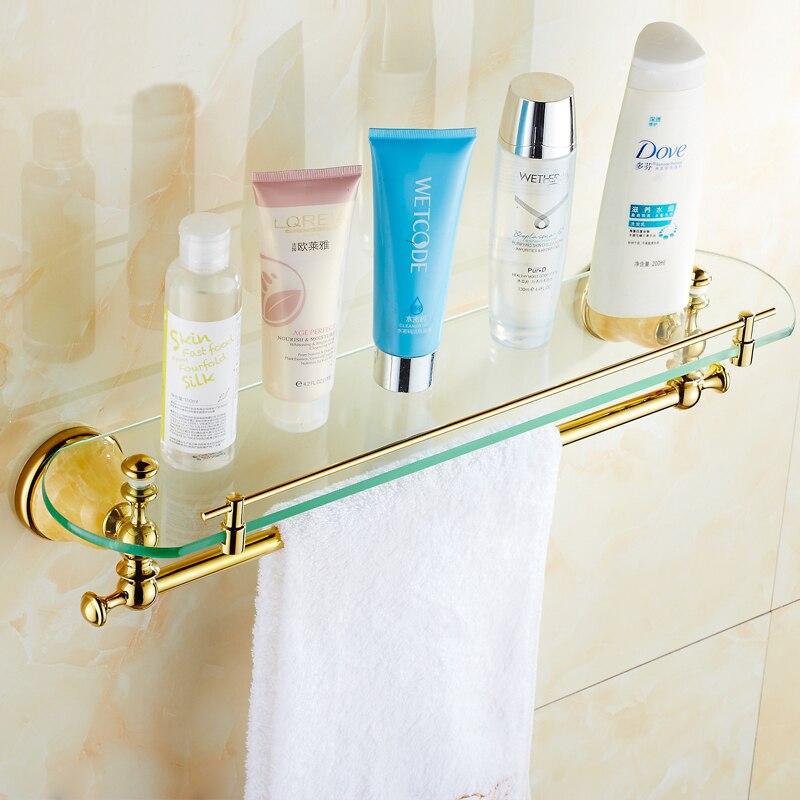 2 Style Brass single tier bathroom shelves gold, Antique glass shelf ...