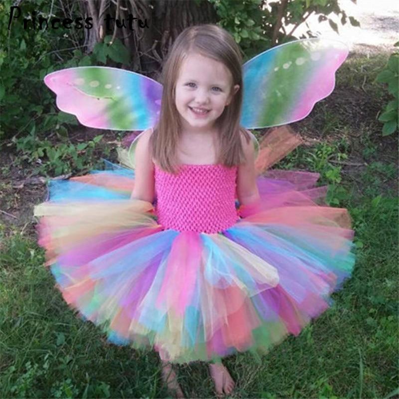 Princess Tutu Fancy Kids Girl Rainbow Dress Mini Halloween