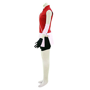 Image 5 - Can be tailored Anime NARUTO Cosplay Man Woman Halloween Cos Haruno Sakura Cosplay Costume top+skirt+pants+gloves