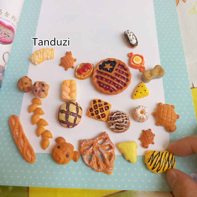 c9c9351cfd320 US $7.54 6% OFF|Tanduzi 23PCS Kawaii Resin Bread Fake Cake Miniature Butter  Breads Dollhouse Hair Bow Center Phone Deco DIY Cabochon Food-in Figurines  ...