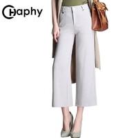 Wide Leg Pants 2018 Office Lady Plus Size Formal Pants Elegant High Waist Straight Pants Loose Cotton Linen Women Trousers
