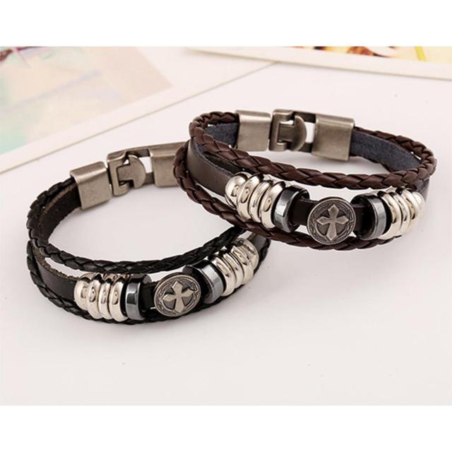 Vintage Cross Beads Handmade Woven Leather Bracelet Bangle For Women Men Jewelry Hip-hop Multilayer Warp Bangle