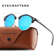 Fashion Mens Club Round Sunglasses Polarized Metal Semi