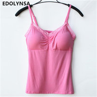 High Quality 9 Candy Colors Solid Modal Elasticity Blusas Bustier Lace Crop Top Camisole Tank Tops