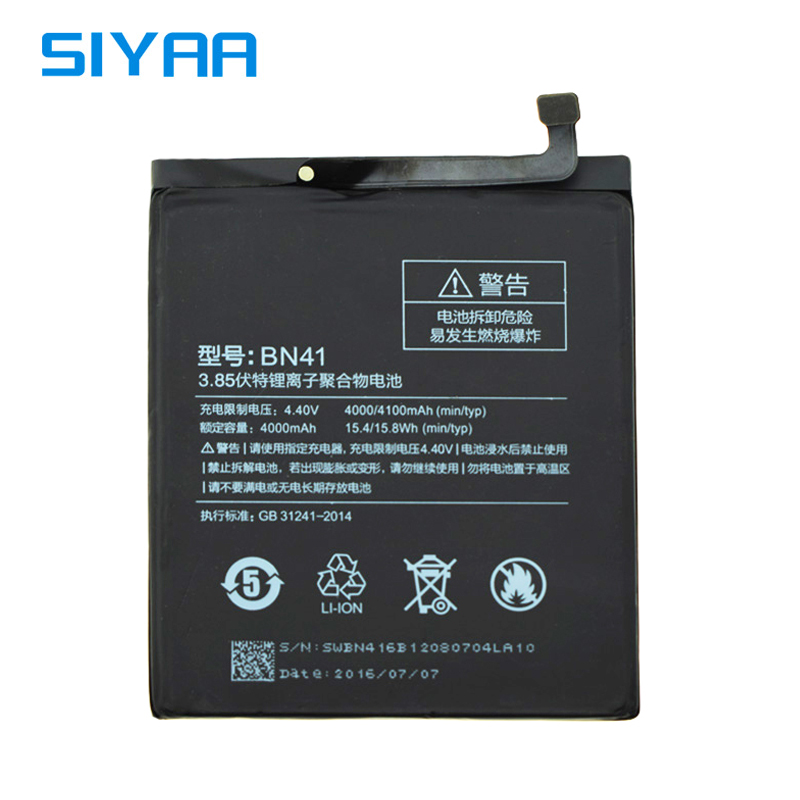 SIYAA Original BN41 Battery For Xiaomi Redmi Note 4 Hongmi Note4 High Quality 4100mAh Replacement Lithium Polymer Batteries