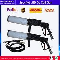 2 шт./лот диско DJ портативный стороны провести LED Co2 пистолет с 3 м шланг высокого давления сцене театра Дым Туман эффект Co2 ткацкий станок