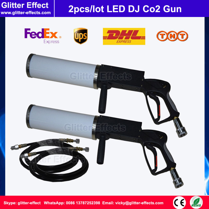 2pcs/lot DJ disco portable hand hold LED Co2 gun with 3 meter high pressure hose theater stage smoke fog effect Co2 jet machine swing co2 jet special effect stage show dj club sway column fog machine theater swing co2 machine