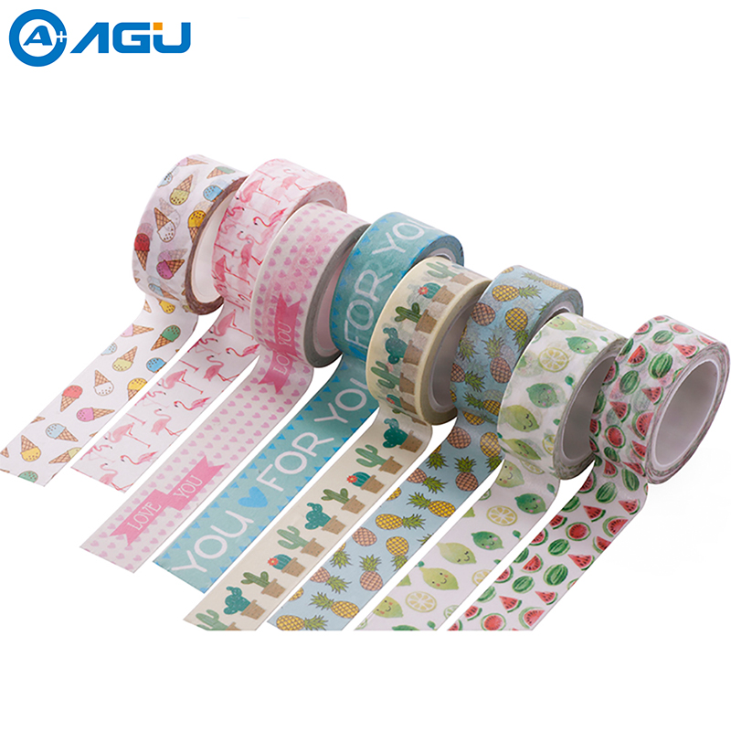 AAGU New Arrival 1PC 15MM*5M Unicorn Flamingo Washi Tape Cute Cactus Pattern Masking Tape Decorative Scrapbooking Adhesive Tape