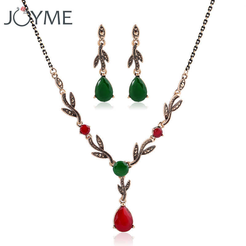 Vintage Bridal Necklace Earrings Set Green Water Drop Leaf Resin Gold Jewelry Set Turkish Wedding Jewellery