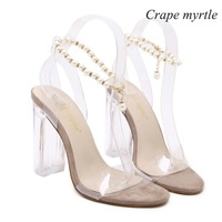Crape Myrtle US5 9 New Style Women S High Heels Beading Chains PVC Clear Crystal Sandals