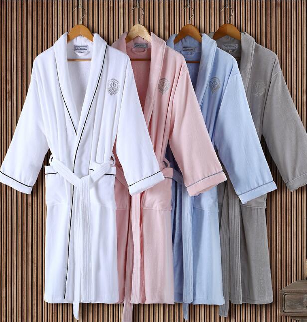 Winter 100% cotton Robe High Quality Woman&Man Home Bathrobe Hotel Upscale Peignoir high quality famous brand upscale 100
