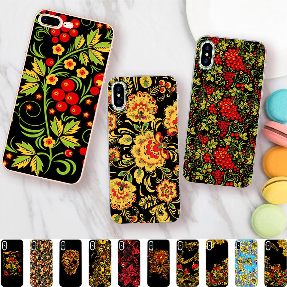 Russian Flower Pattern Cases for iPhone 6s Case Khokhloma Soft Silicone Case for iPhone X 7 5 5S SE 6 8 plus Cover Coque