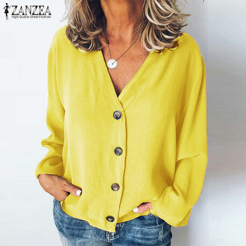 ZANZEA Women's Blouse Casual Long Sleeve Shirts <font><b>Sexy</b></font> V Neck Buttons Tunic Tops Office Ladies Work Chic Blusas Chemiser <font><b>Mujer</b></font> <font><b>5XL</b></font> image