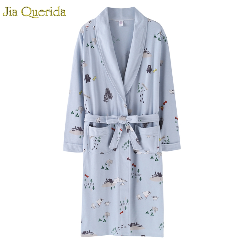 J&Q New Arrival Robe For Female Autumn Nightgown Cotton Bathrobe Women Pajamas Long Sleeves Pyjamas For Ladies Plus Size Robes