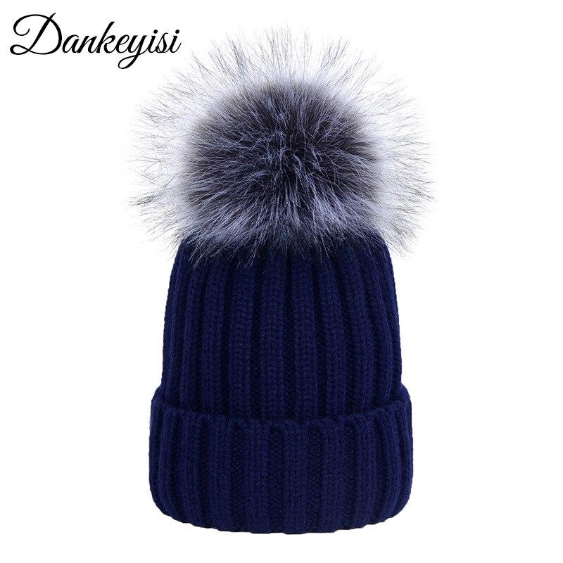 DANKEYISI Women Hat Women Winter Hat Men   Skullies   Cap Warm Outdoor Faux Fox Pompom Hat Cap Bonnet Femme Gorras Para Hombre