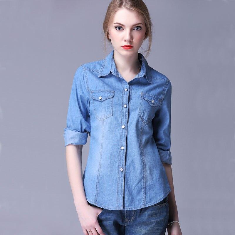 8235c156db8 2018 Fashion Plus Size Denim Shirt Women Long sleeve Turn-Down Collar  Blouse Jeans Female Cowboy Shirts Femme