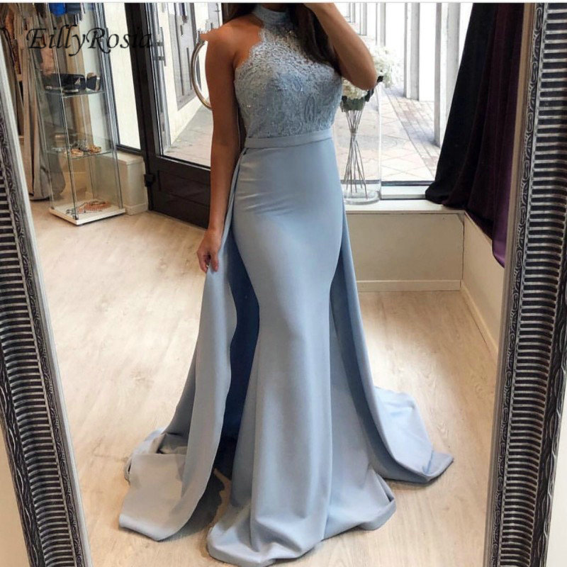 1c98a14be11d2 US $135.2 35% OFF|Dusty Blue Evening Dress Mermaid Halter Lace Tops  Detachable Train Elegant Couture Dress Women Dinner Party longue robe  lebanon-in ...