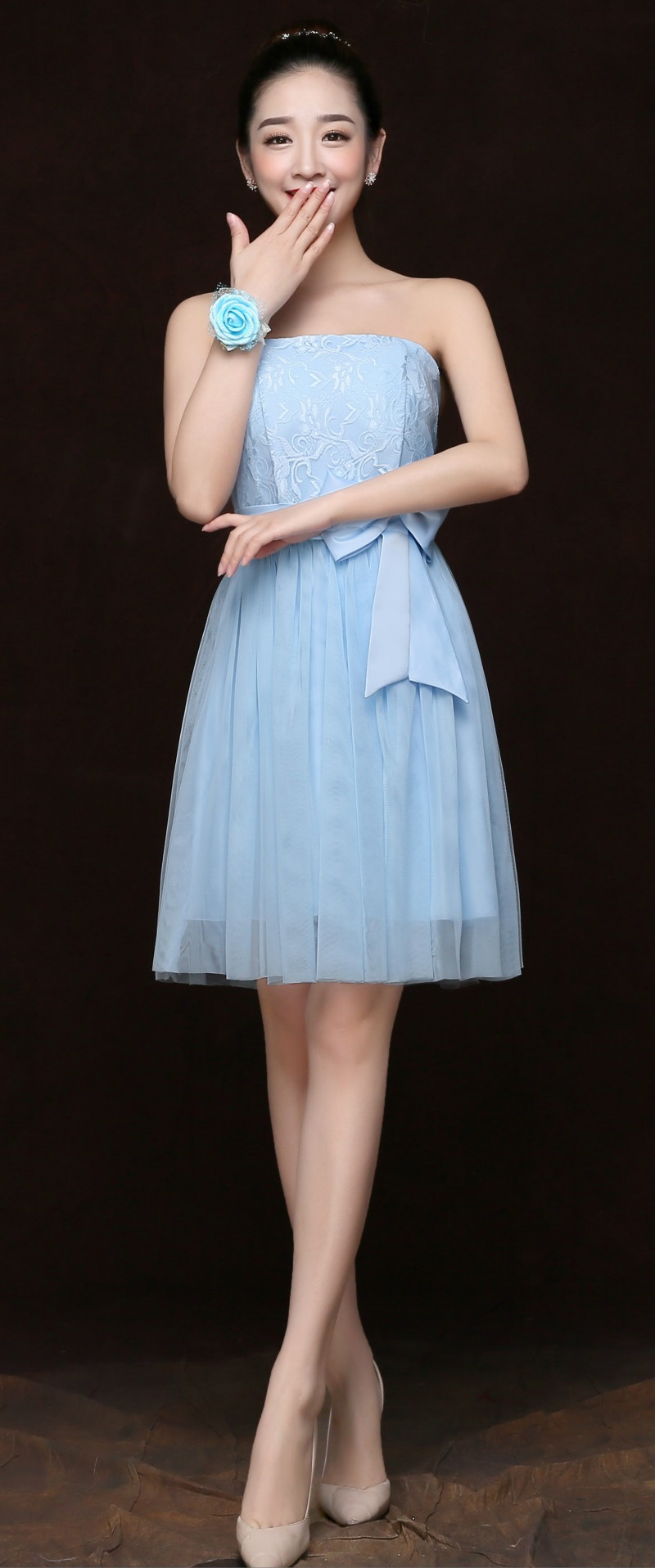 New Women Girl Bowknot Above Knee A Line Party Dress Tube Top Dress ...