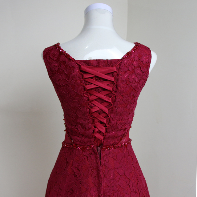 Burgundy Red Beaded Pink Lace Sexy Short Prom Party Dress Sleeveless Formal Evening