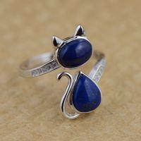 925 스털링 실버 고양이 반지 천연 블루 스톤 100% 리얼 S925
