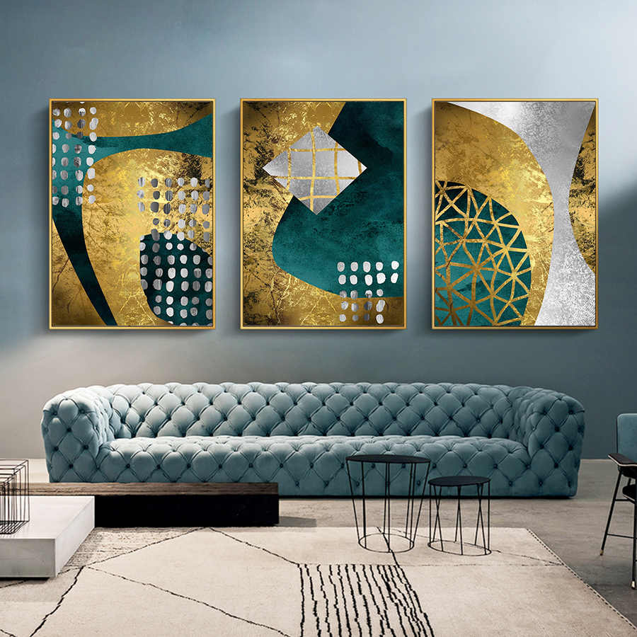 Abstract Luxury Black Gold Painting Nordic Scandinavian Poster Print Canvas Wall Art Pictures for Living Room Bedroom Pop Art