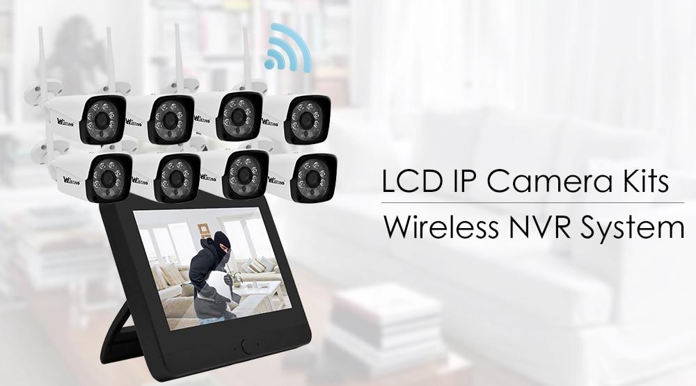 Wistino 8CH Security IP Camera Outdoor HD 1080P Wireless NVR Kit WiFi CCTV System Surveillance Screen Video Monitor Waterproof
