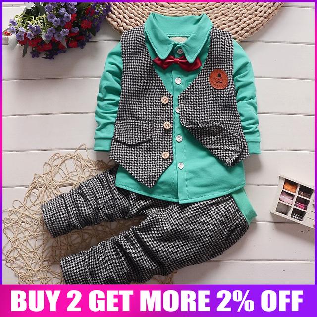 BibiCola autumn baby boys clothing set gentleman outfits infant tracksuit 3pcs plaid t-shirt+pants+vest sets bebe sport suit