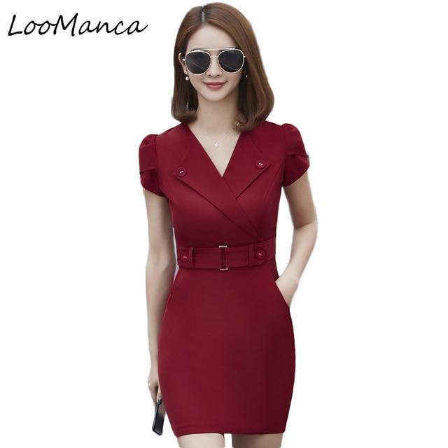 f7928c27f Summer office dress Women elegant Business work wear Dress plus size women  clothing Package Hip Dresses Casual party dresses