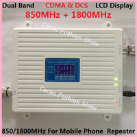Lcd Display Cdma 800mhz DCS 1800Mhz Repeater Dual Band Signal Amplifer Mobile Phone Signal Booster CDMA