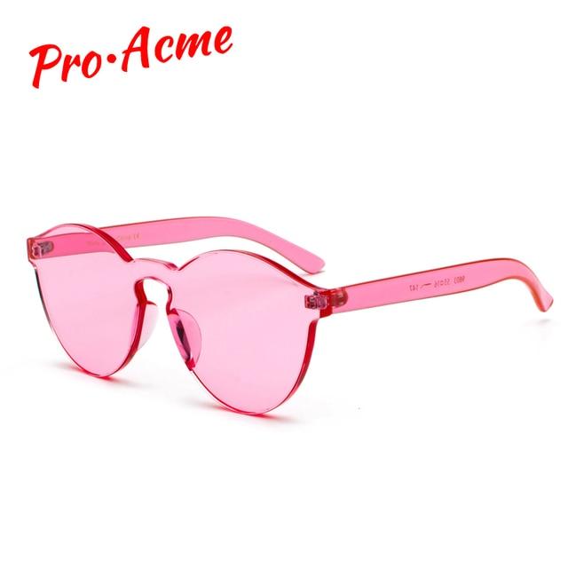 7ab4d159f107 Pro Acme One Piece Rimless Sunglasses Transparent Plastic Sun Glasses Men  Women Candy Ultra-Bold