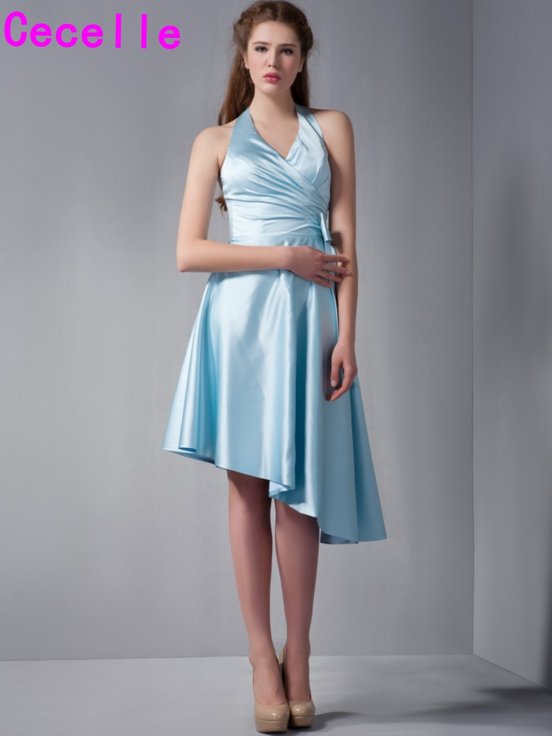 Blue Satin High Low Bridesmaid Dresses Halter V Neck Informal ...