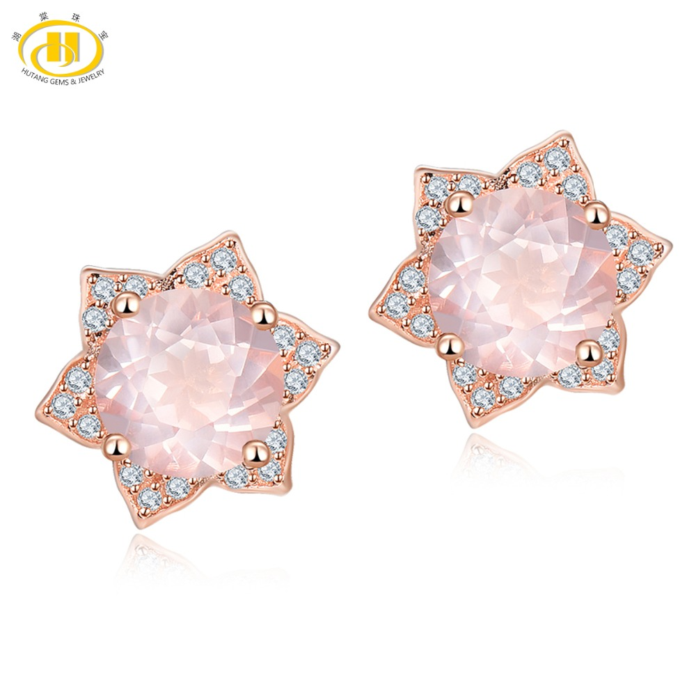 Hutang Stone Jewelry Natural Gemstone Rose Quartz Solid 925 Sterling Silver Sunflower Earrings Spring Fine Fashion