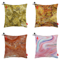 Fashion Yellow Red Pink Marble Agate Granite Print Car Decorative Pillowcase Cushion Cover Sofa Home Decor