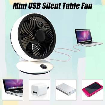 USB Fan Mini Portable Dual Blade Desk Super Quiet Silent Laptop Cooler Small Fan Office Desktop Fan 2 Speed Cooling Gadgets