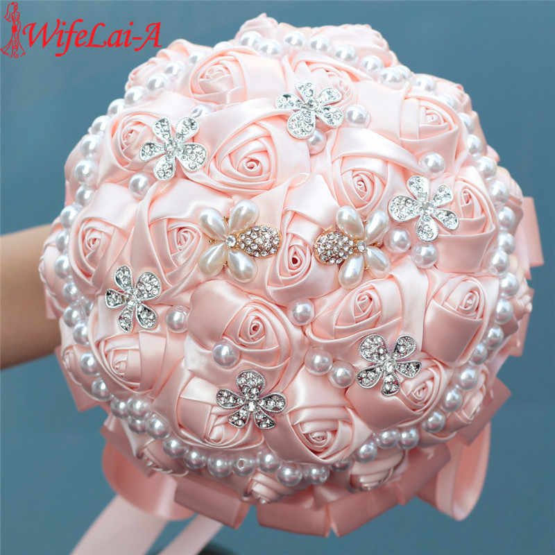 WifeLai-A Shell Pink Gorgeous Pearl Beaded Silk Bouquet Artificial Handmade Roses Wedding Bridal Bouquet Bride Flowers W225-19