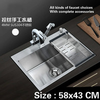 Free Shipping Fashion Kitchen Sink Durable 304 Stainless Steel Hand Made Single Slot Hot Sell 58x43