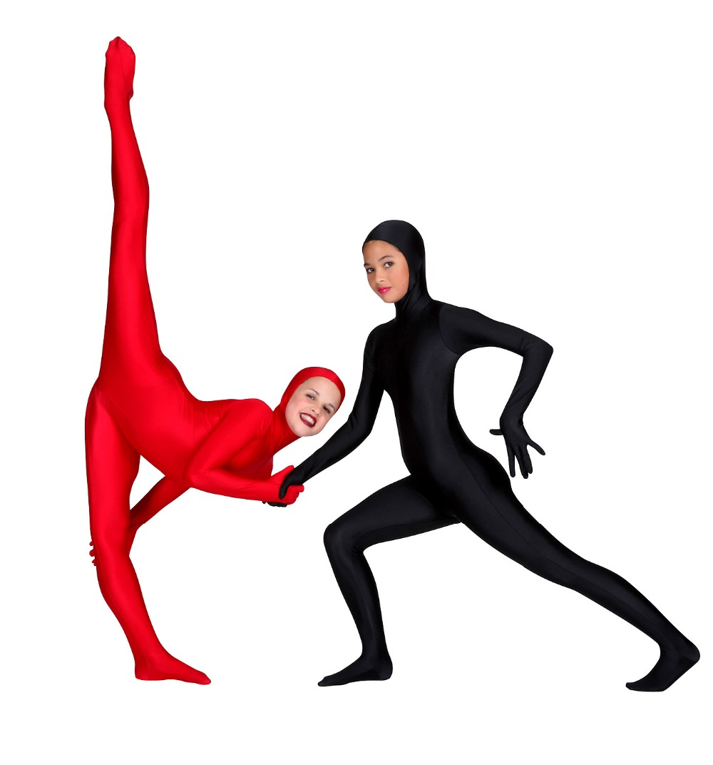 Black Child Full Body Unitard Face Open Lycra Toddler Spandex Zentai Suit Costumes Zip Long Sleeve Hooded Zentai Bodysuits Kids