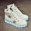 2016 blanco de la manera star invierno mujeres zapatos luminosos led con iluminación Casual Zapatos Para Adultos Light Up Led Schoenen PU Neón Cesta
