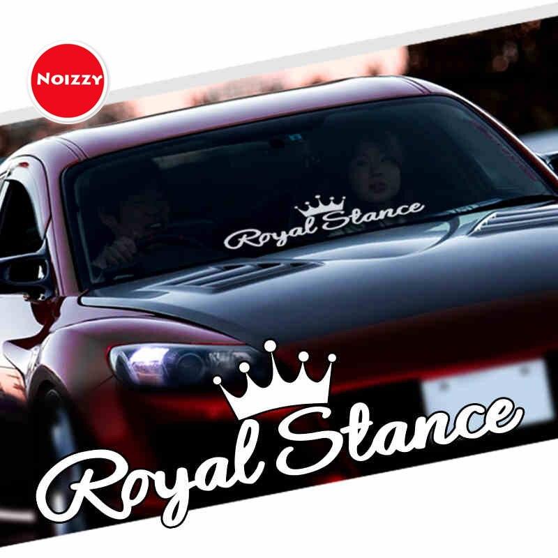 Otomobiller ve Motosikletler'ten Araba Çıkartmaları'de Noizzy kraliyet duruş çıkartması araba Sticker taç JDM vinil yansıtıcı otomatik ön cam pencere Tuning araba Styling