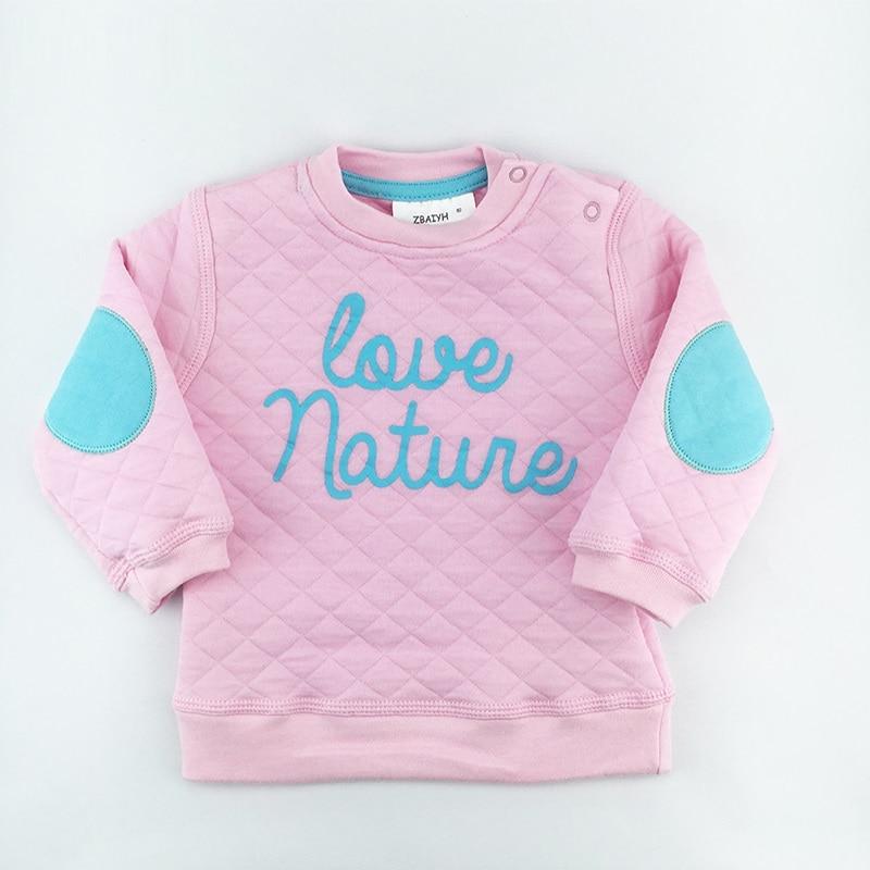 Baby gutter klær hettegenser sweatshirts Høst vinter jenter pullover bomull brev langermet rosa varme baby toppene 6-18M