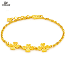 SFE 24K Pure Gold Bracelet Real 999 Solid Gold Bangle Lucky Four Leaved Clover Trendy Classic  Fine Jewelry Hot Sell New 2020