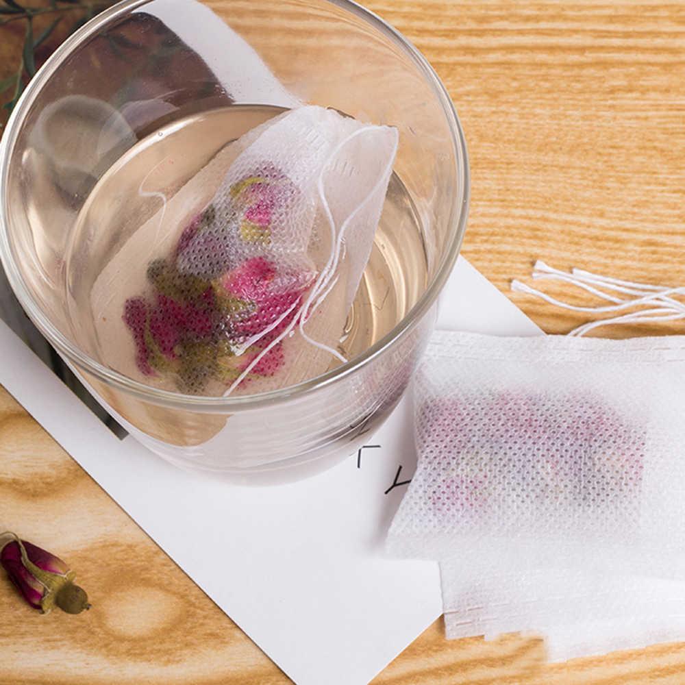 100 Saquinhos 5.5x7 pçs/lote CM Vazio Perfumado Sacos de Chá Com Barbante Curar Selo de Papel De Filtro para o Herb Solto chá Bolsas de te