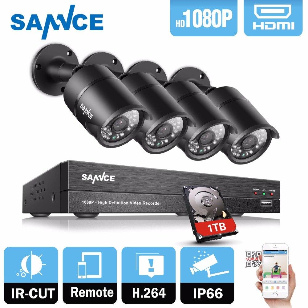 SANNCE 8CH 1080P CCTV System 2.0MP CCTV Security Cameras IR Outdoor 8 channel 1080P CCTV surveillance DVR kit 1 tb hdd