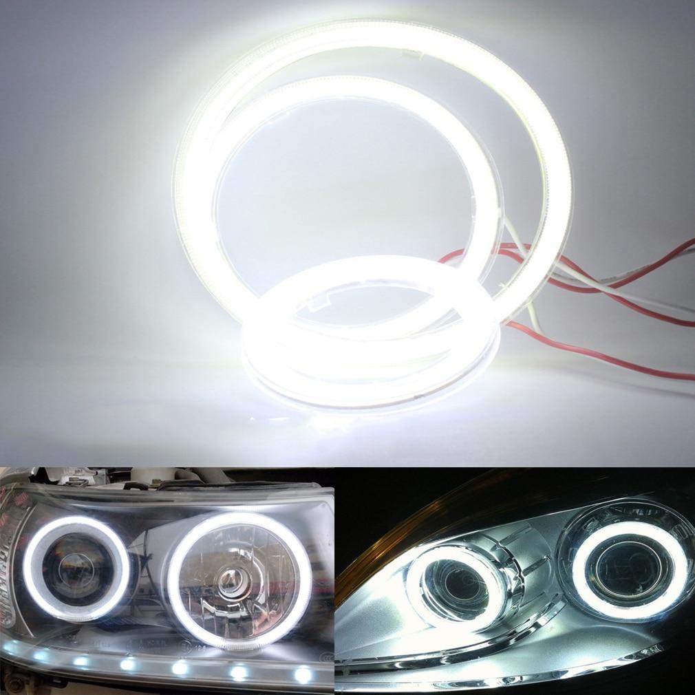 sourcing map 2pcs 120mm Yellow COB LED Angel Eye Halo Ring Light Driving Headlamp for Car