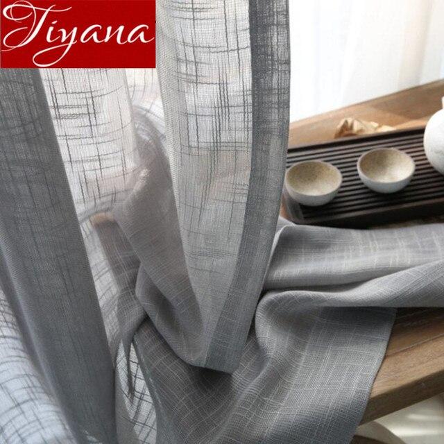 Gris Cortinas sólido pura voile ventana moderno salón cocina ...