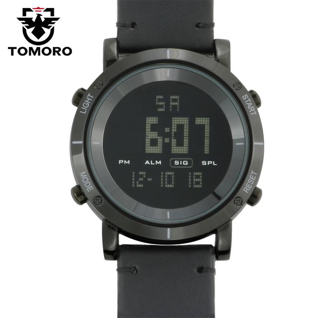 Tomoro digitais esportes relógios homens à prova d' água luminosa relógio grande dial horas militar preto de couro genuíno 2017 nova moda